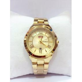 Relógio Feminino Original Atlantis Dourado Romanoscalendári