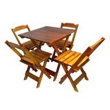 Jogos De Mesas Bar 70x70 Com 4 Cadeiras Em Madeira Mel