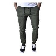 Pantalon Cargo Jogger Verde Negro Hombre The Big Shop