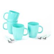 Set De Tazas Tipo Mug De Vidrio Color + Cucharitas Carol