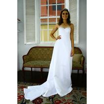 Vestido De Noiva Em Cetim Com Cauda Novo 36-38