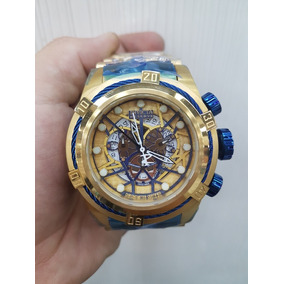 5610fbb5e6a Relogio Invicta Bolt Zeus Skeleton Dourado Azul Feminino - Relógios ...
