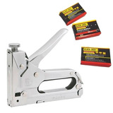 Grampeador Pinador Manual 4 À 15mm C/ Grampos + Maleta
