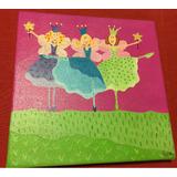 Cuadros Pintados En Acrílico Princesas/hadas 20x20 Bastidor
