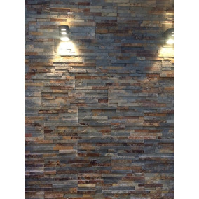 Placas De Piedra Natural Laja Brick Oxido