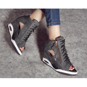 Abaixou! Sandália Tênis Salto Anabela Alto Gladiador Jeans