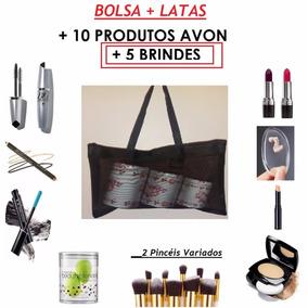 Kit Maquiagem Avon + Bolsa Transparente + 3 Latas Sem Maleta