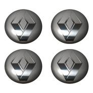 Kit 4 Emblema Renault Cinza 90mm Para Calota Miolo Centro