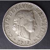Moneda Suiza Helvetica 20 Rappen 1913 Nice Grade