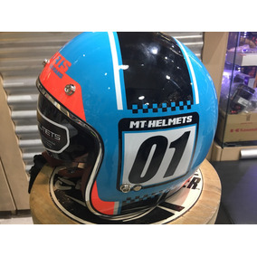 Casco Mt Le Mans Numberplate Tipo Bell Con Visor Maxi Racer
