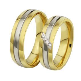 Alianças Casamento Dourada Banhada Ouro Com Garantia Aço