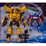 Transformers 2 En 1 Bumblebe Con Sonido Y Optimus Prime Caja