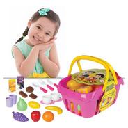 Brinquedo Cesta De Picnic Infantil Educativo Menina Rosa