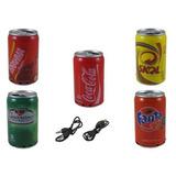 Caixa De Som Latinha Coca Skol Usb Pen Drive Mp3 Cartão Sd