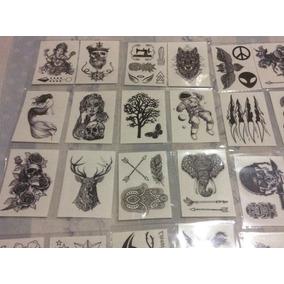 15 Cartelas De Tatuagem Temporária Preto E Branco
