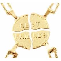 Colar Best Friends Amizade Amiga 4 Partes Folheado A Ouro