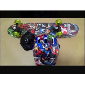 Skate Infantil Heróis Vingadores Com Acessórios + Case