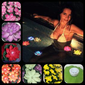 Flor Loto Flotante Con Luz Vela Led Centro De Mesa X12