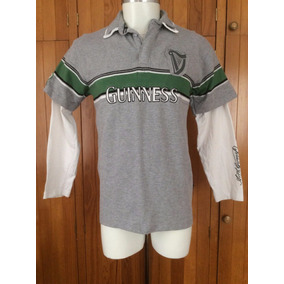 Playera Polo Cerveza Guiness Manga Larga Tipo Rugby Irlanda