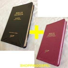 Kit 2 Bíblias Slim Com Harpa Corinhos Preta + Pink Ed Cpp
