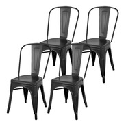 Silla Tolix Negro Mate Excente Calidad ! Pack X 4   - Sheshu