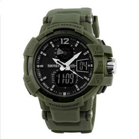 Relógio Masculino Skmei 1040 Anadigi Verde Com Nf