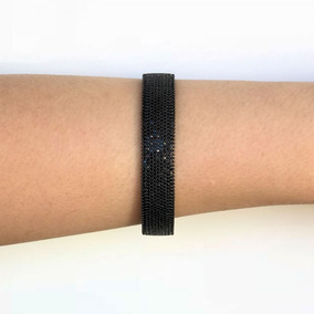 Bracelete Feminino Preto Festa Cravejado Com Zirconias