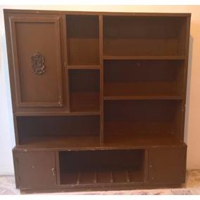 Librero Escritorio De Madera Antiguo. Bien Conservado.