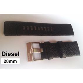 Pulseira Diesel 28mm Couro Preta Gravada C/ Fivela Prata