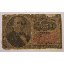 Ee.uu. Antigüo Billete De 25 Centavos De Dolar De 1864