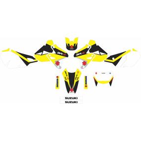 Kit Adesivos Gráficos Black Yellow Drz 400 Com Cola 3m