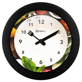 Relógio 6651 De Parede Herweg Cozinha 21cm Preto