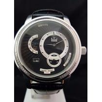 Relógio Masculino Dumont Automático Aço E Couro Fundo Preto