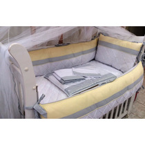 Kit Berço Bebê Amarelo Com Cinza + Protetor Desmontavel Rosa