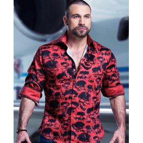 Camisa Rafael Amaya Luxury 219ca01 Arre Rojo Calaveras Hombr