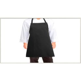 Mandil De Gabardina Negro Sin Bolsas Chef, Cocineros