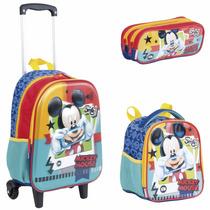 Kit Escolar Mickey 17x Mochila Rodinhas Lancheira Estojo