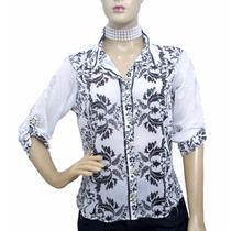 Camisa De Chifon Estampa Floral - Usada - Ótimo Estado