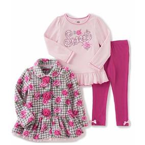 Bebé Niña Conjunto 3 Piezas Abrigo Blusa Pantalón