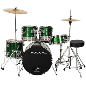 Bateria Acústica Vpd924 Verde Bumbo 22 Pratos Vogga Completa