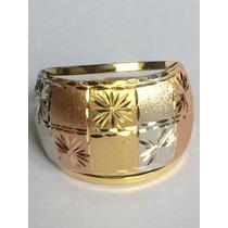 Ngold Anel Tricolor 3 Cores Fosco Diamantado Ouro 18 K 750.