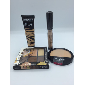 Kit Base+pó Matte Nude+paleta Corret+corret Naked Ruby Rose