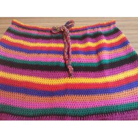 Pollera Tejida Crochet Artesanal Multicolor