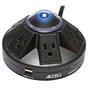Accell Powramid 6 Outlet Surge Protector With 2x Usb -negro