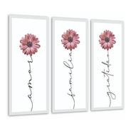 Quadros Amor, Gratidão Família Flores Rosa Delicado Corredor
