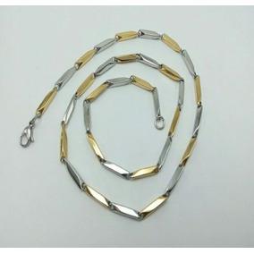 Collar De Oro Lam 18k En Acero Inox 50cms De Caballero