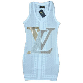 Louis Vuitton Vestido Corto Algodón/lycra C/strass Talle M/l