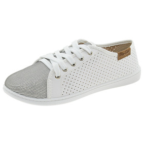 Tênis Feminino Casual Branco/prata Moleca - 5605100