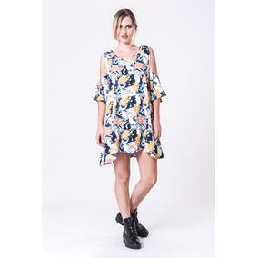 Vestido Basilotta Aqua Corto Estampado Floral