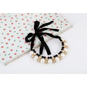 Collar Pechera Con Perlas, Strass Y Cinta Para Atar